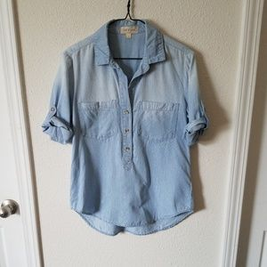 Cloth and Stone button striped chambray shirt